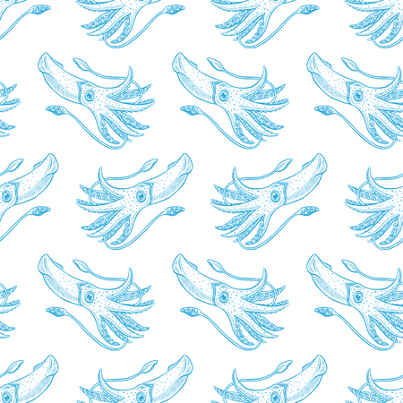 beautiful seamless background of sketch blue squids. hand drawn illustration Illustration