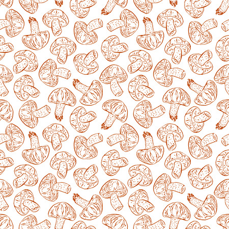 cute seamless of sketch brown shiitake. hand drawn illustration Illustration