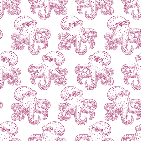 beautiful seamless background of cute octopuses. hand drawn illustration
