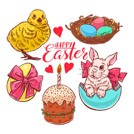 A beautiful colorful set of Easter symbols - rabbit, chicken, cake and others. Hand-drawn illustration