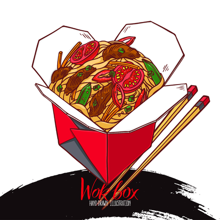 asian food. wok box with beef and vegetables. Hand-drawn illustration