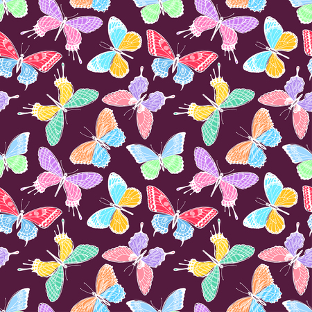 Beautiful seamless background of multicolored butterflies on a dark background. Hand-drawn illustration