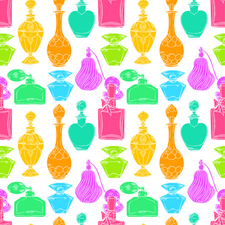 Beautiful seamless pattern of a variety of womens colorful perfume bottles on white background. hand-drawn illustration Illustration