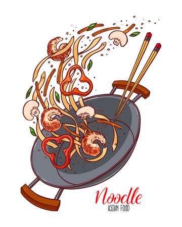 Comida asiática. Bandeja de wok de fideos chinos, gambas, pimientos y champiñones. Ilustración dibujada a mano Ilustración de vector