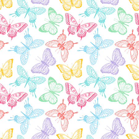 Beautiful seamless background of sketch multicolored butterflies. Hand-drawn illustration