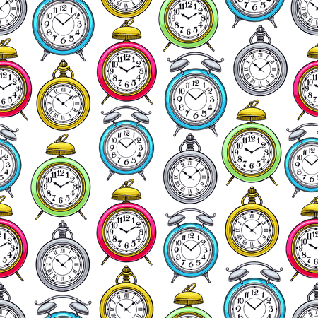 cute seamless background of colorful vintage clock. hand-drawn illustration