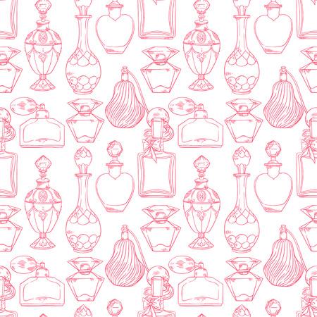 다양 한 여자 향수 병의 아름 다운 원활한 패턴. 손으로 그린 그림