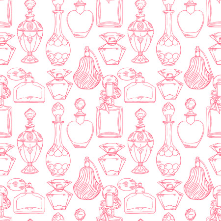 beautiful seamless pattern of a variety of womens perfume bottles. hand-drawn illustration