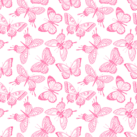 Beautiful seamless background of sketch pink butterflies. Hand-drawn illustration