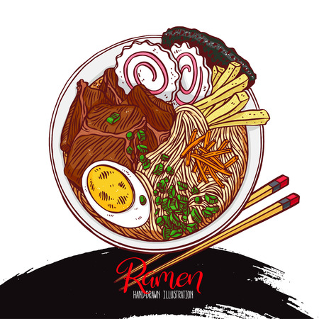Japanese food. Appetizing colorful ramen. Hand-drawn illustration Иллюстрация