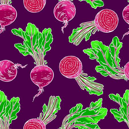 nahtloser Hintergrund von reifen roten Rüben. Hand gezeichnete Abbildung