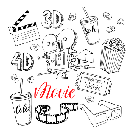 camera film: cute set of cinema attributes isolated on white background. hand-drawn illustration Illustration