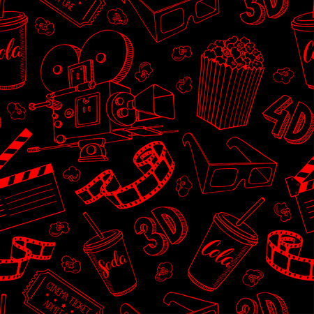 camera film: cute seamless background of cinema attributes. hand-drawn illustration