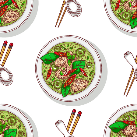 Asian food. Green curry. Seamless background of appetizing traditional Thai soup with chicken.