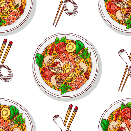 Asian food. tom yum kung. seamless background of appetizing traditional Thai soup with shrimps. Hand-drawn illustration