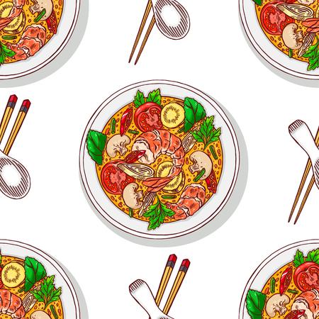 Comida asiática. tom yum kung. fundo sem emenda da sopa tailandesa tradicional apetitosa com camarões. Ilustração desenhados à mão