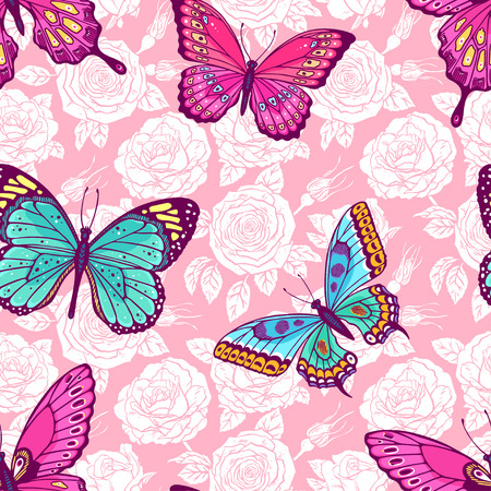 Beautiful seamless pattern of roses and colorful butterflies. Hand-drawn illustration Vettoriali