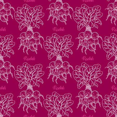 cute seamless background of ripe radish. hand-drawn illustration