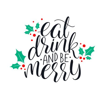 食べて、飲んで、メリー クリスマスのグリーティング カードします。手描きイラスト