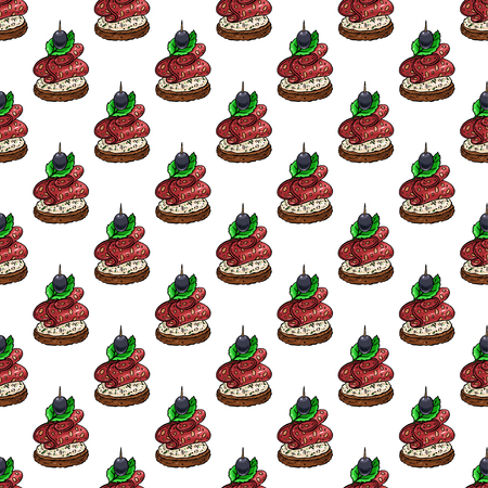 seamless background of appetizing canapes. hand-drawn illustration Ilustrace