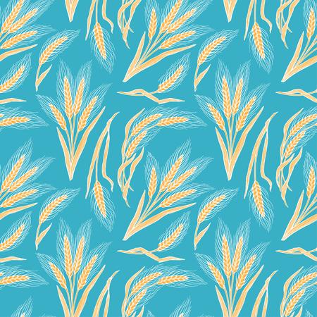 Seamless background of wheat. Hand-drawn illustration  イラスト・ベクター素材