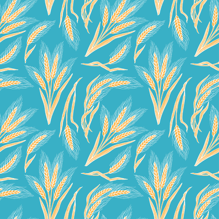 Seamless background of wheat. Hand-drawn illustration Ilustracja