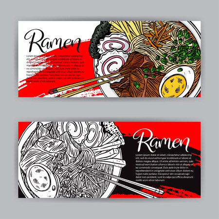 Japanese food. two beautiful banners of Appetizing ramen. hand-drawn illustration