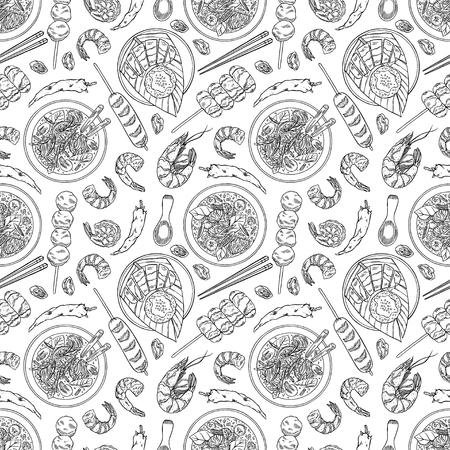Thai cuisine hand drawn pattern.