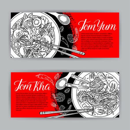 Thai cuisine, two beautiful banners of appetizing Thai soups. Tom Kha and Tom Yum. hand-drawn illustration.