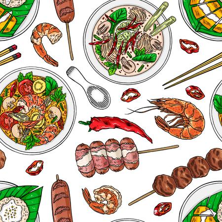 Seamless background of Thai cuisine. Tom kha, sticky rice, tom yum shrimps and chili. Hand drawn illustration.