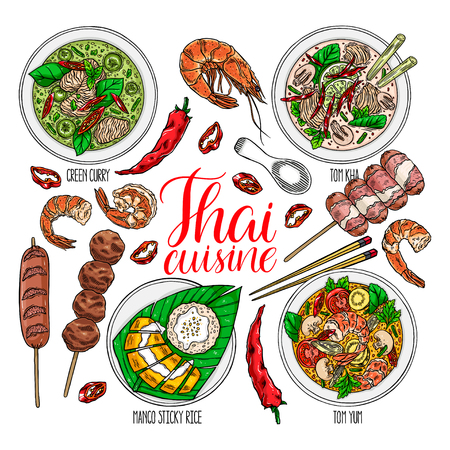 cute set of thai cuisine. Tom Yum kung, Green curry, Tom Kha, fruit sticky rice, shrimps and chili. hand drawn illustration