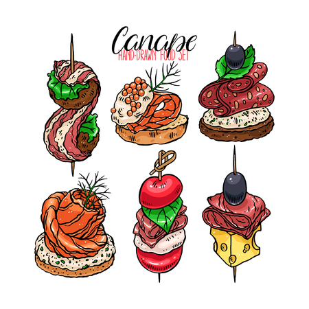 Cute set of different canapes, hand-drawn illustration