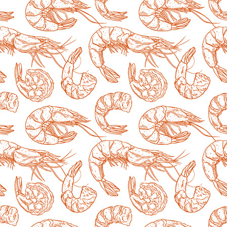 Cute seamless background of cooked different shrimps. Hand-drawn illustration Illustration