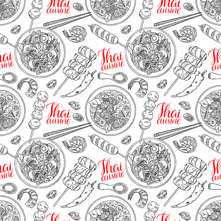 seamless background of thai cuisine. Tom Yum kung, Green curry, shrimps and chili. hand drawn illustration Illustration