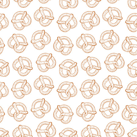 seamless background of delicious pretzels. hand-drawn illustration