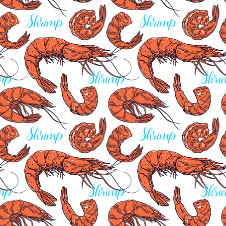 Cute seamless background of cooked different shrimps. Hand-drawn illustration Иллюстрация