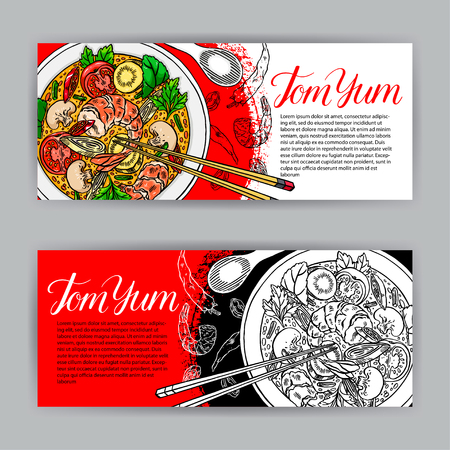 Thai cuisine. two beautiful banners of Appetizing tom yum. hand-drawn illustration