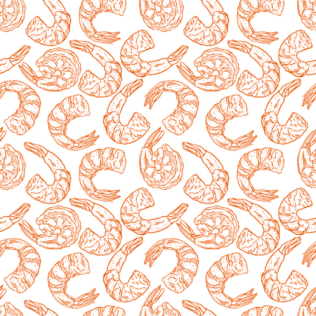 Cute seamless background of cooked different shrimps. Hand-drawn illustration.
