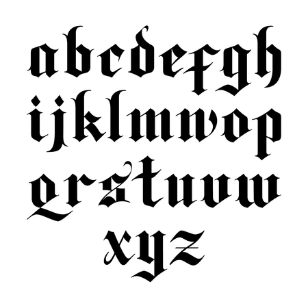 blackletter gothic vector font. lowercase letters Vettoriali