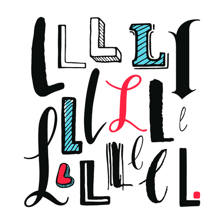 Letters L Set. Different styles. Hand-drawn illustration