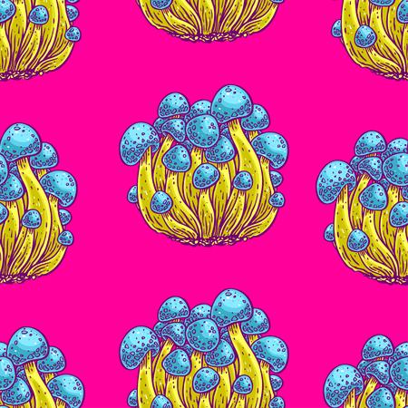 Bright color seamless background of psychedelic mushrooms, hand-drawn illustration. Ilustração