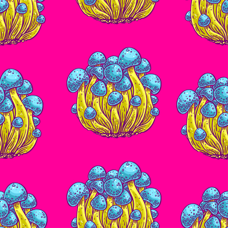 Bright color seamless background of psychedelic mushrooms, hand-drawn illustration. Vettoriali