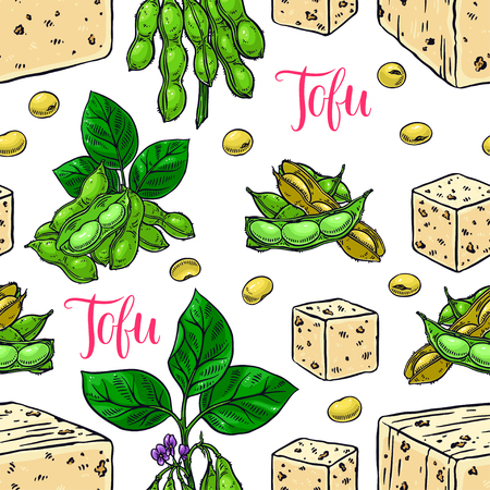 cute seamless background of soybeans and tofu. hand-drawn illustration