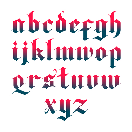blackletter gothic vector font. lowercase letters Illustration