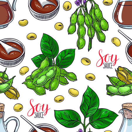Cute seamless background of soybeans and soy sauce. Hand-drawn illustration.