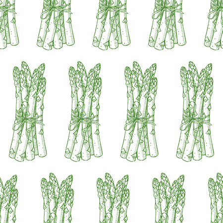 seamless background of sketch ripe asparagus. hand-drawn illustration