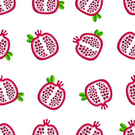 Abstract garnet fruit seamless pattern. Vector illustration