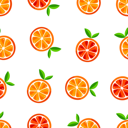 Cute seamless pattern of oranges. Vector illustration Çizim