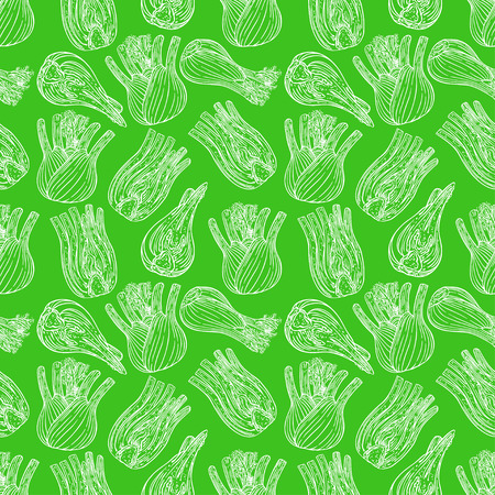 cute seamless background of ripe sketch fennel. hand-drawn illustration