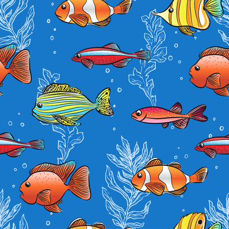 seamless background of cute fishes and seaweeds